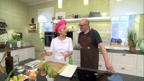 Programa 34: Pollo guisado con aceitunas y alcachofas y brazo gitano de crema y frutas