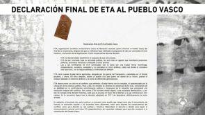 """(04-05-18) - ETA anuncia oficialmente """"el final de su trayectoria"""" con el desmantelamiento total de sus estructuras"""