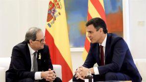 """(10-07-18) Torra recalca a Sánchez que su gobierno """"no renuncia a ninguna de las fórmulas para llegar a la independencia"""""""