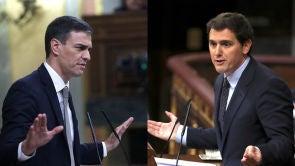 """(12-09-18) Tenso rifirrafe entre Sánchez y Rivera por la tesis doctoral del presidente: """"Ha convertido su pregunta parlamentaria en un lodazal"""