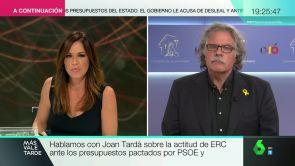 """(16-10-18) Joan Tardà, sobre la actitud de ERC ante los Presupuestos: """"No vamos a negociar nada si el Gobierno no habla con la Fiscalía"""""""