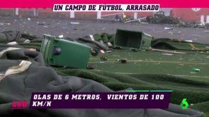 (19-11-18) El campo de fútbol de Garachico, arrasado por el temporal en las islas Canarias