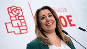 (11-01-19) Susana Díaz niega discrepancias con el PSOE por mantenerse al frente el partido en Andalucía