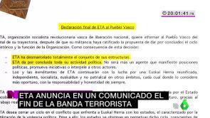 (03-05-18) ETA anuncia en un comunicado el fin de la banda terrorista