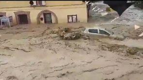 (08-09-18) Impresionante riada en Cebolla, Toledo, tras el desbordamiento de un arroyo